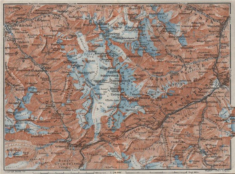 Associate Product URNER/URI ALPS. Trift district. Andermatt Innertkirchen Dammastock 1928 map