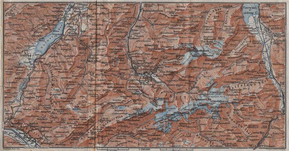 Associate Product ENGELBERG ENVIRONS. Uri/Urner Alps Titlis Blackenstock Sarnen Altorf 1928 map