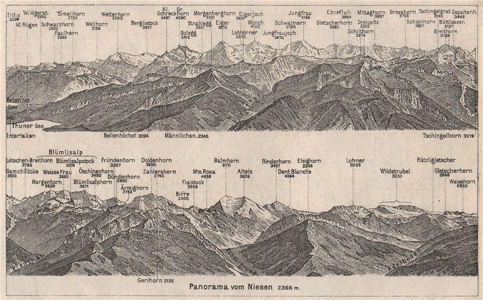 Associate Product PANORAMA from/von NIESEN 2366m. Blumisalp Jungfrau Switzerland Schweiz 1928 map