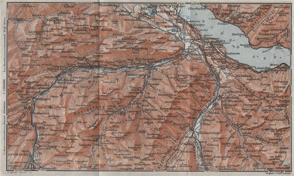 Associate Product THUNER SEE. SIMME/KANDER VALLEYS. Gantrisch Spiez Frutigen Oberwil 1928 map