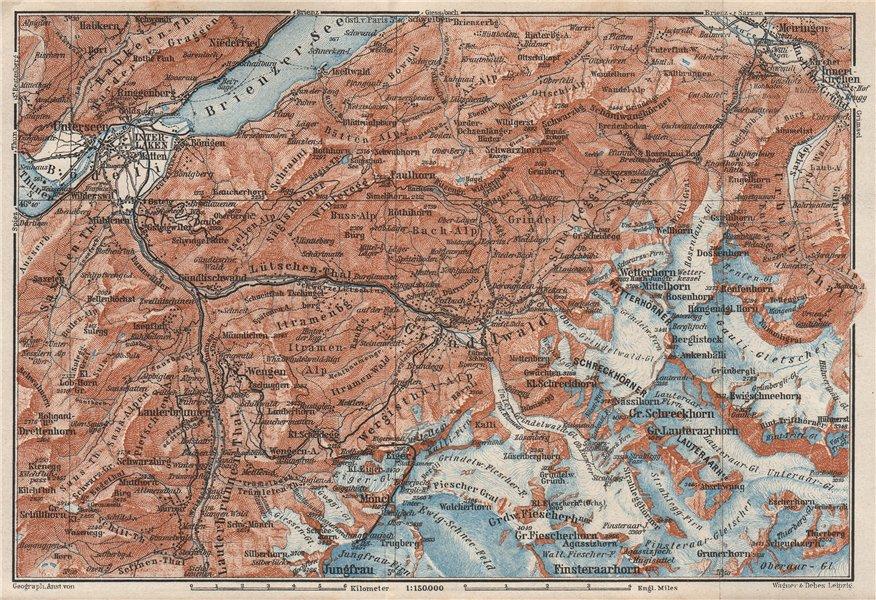Associate Product GRINDELWALD environs. Wengen Mürren Jungfrau Wetterhorn Interlaken 1928 map