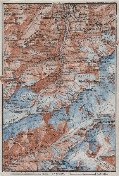 Associate Product UPPER LAUTERBRUNNEN VALLEY/WALL. Mürren Grosshorn Breithorn Jungfrau 1928 map