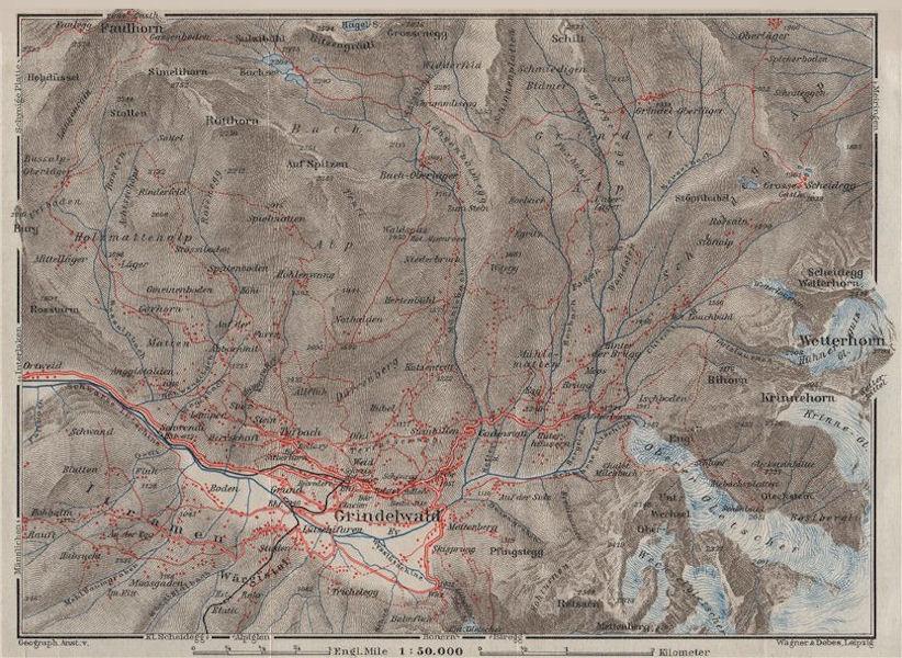 Associate Product GRINDELWALD area. Wetterhorn Faulhorn Krinnehorn. Topo-map. Schweiz 1928