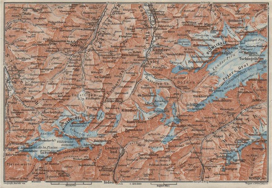 KANDERSTEG area.Blumisalp Adelboden Wildstrubel Rinderhorn Torrenthorn 1928 map