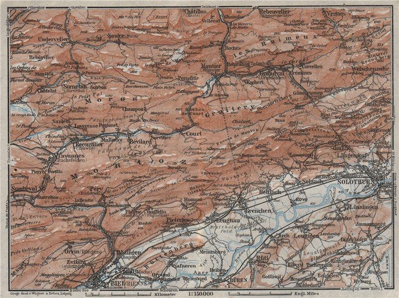 Associate Product BERNESE JURA. Solothurn Biel/Bienne Rebeuvelier Tavannes. Topo-map 1928