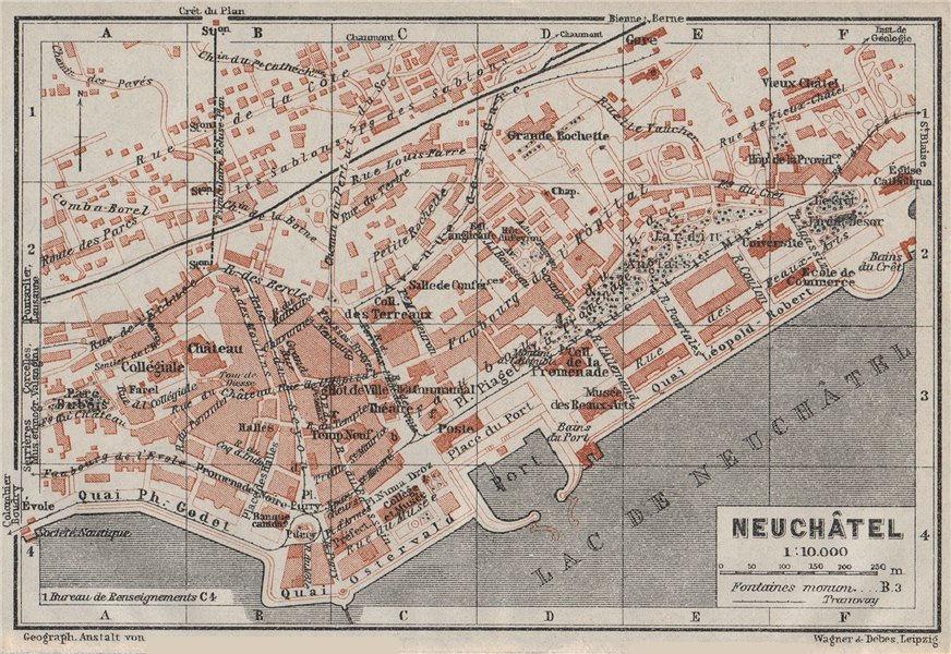 Associate Product NEUCHÂTEL / NEUENBURG. town city plan. Switzerland Suisse Schweiz 1928 old map