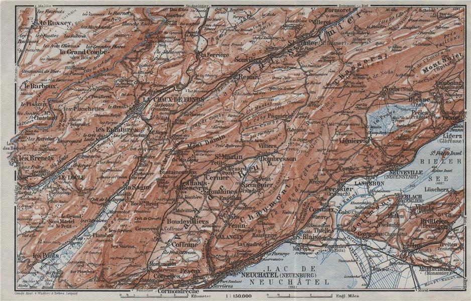 Associate Product NORTH WEST JURA. Neuchâtel La Chaux de Fonds Neuveville. Topo-map 1928 old