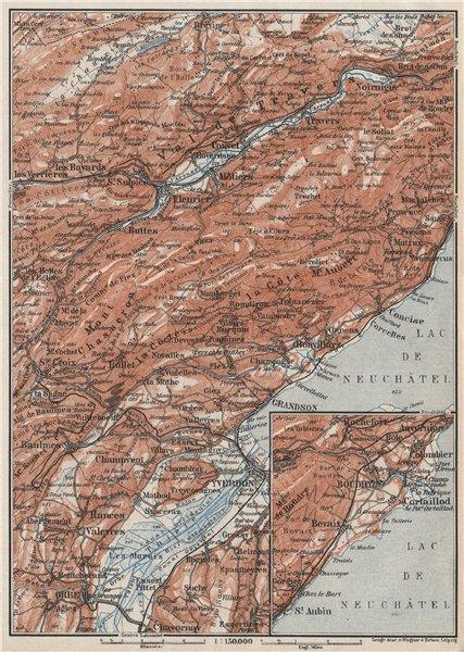Associate Product JURA. Val-de-Travers Orbe Noiraigue Yverdon Grandson Môtiers Buttes 1928 map