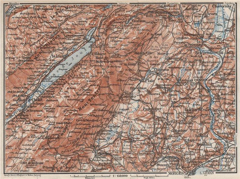 Associate Product WESTERN JURA. Morges Cossonay Vaulion Mont Risoux/Tendre Lac de Joux 1928 map