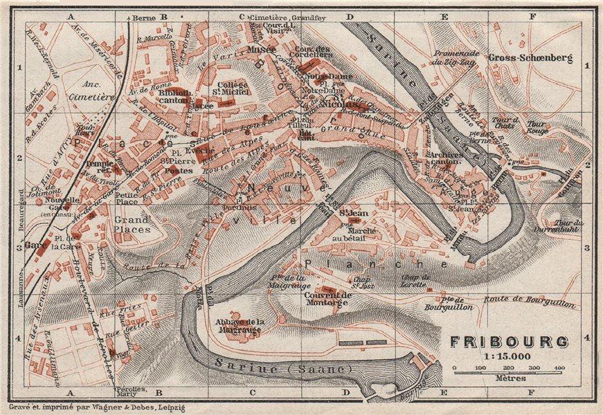 Associate Product FREIBURG / FRIBOURG. town city stadtplan. Switzerland Suisse Schweiz 1928 map