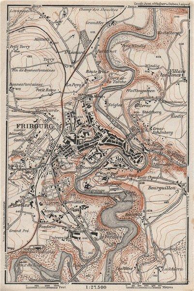 Associate Product FRIBOURG / FREIBURG ENVIRONS. Switzerland Suisse Schweiz carte karte 1928 map