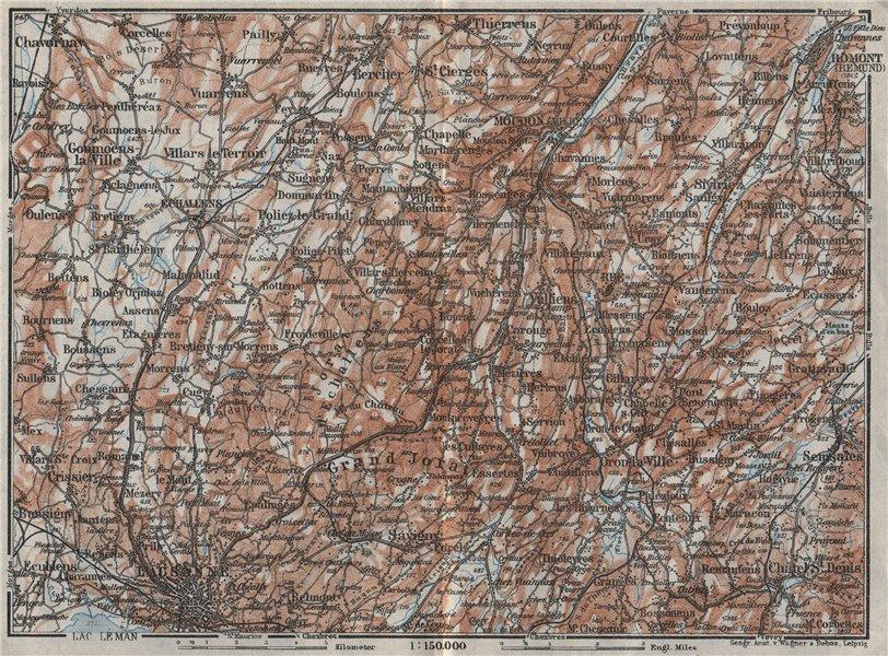 Associate Product PAYS DE VAUD North. Lausanne Moudon Romont Jorat Moudon Echallens 1928 old map