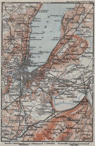 Associate Product GENEVA GENÈVE GENF ENVIRONS. Switzerland Suisse Schweiz carte karte 1928 map
