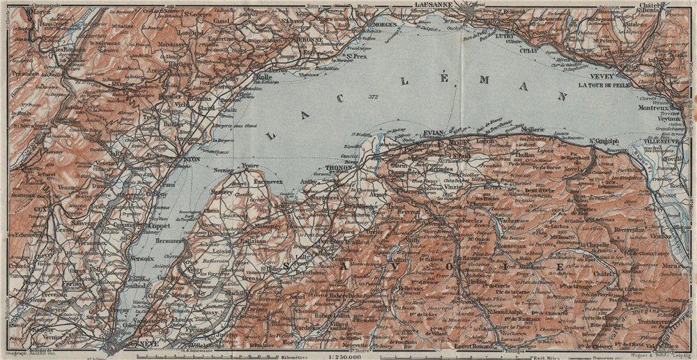 Associate Product LAKE GENEVA/LAC LÉMAN. St Cergue Chatel St Jean d'Aulph Lausanne Evian 1928 map
