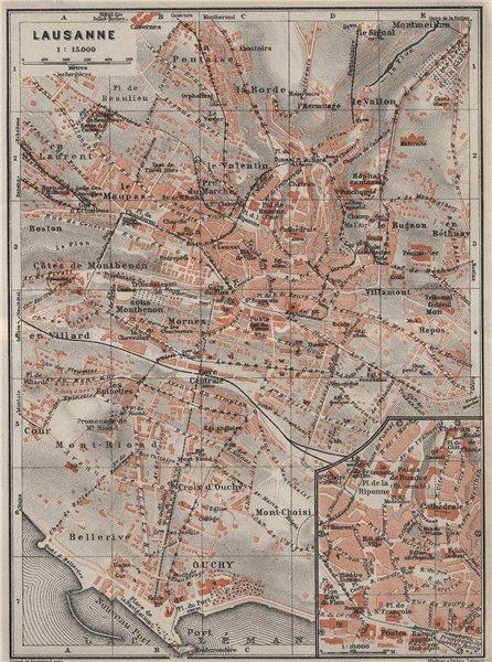 Associate Product LAUSANNE. town city stadtplan. Switzerland Suisse Schweiz carte karte 1928 map