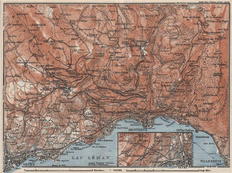 MONTREAUX AREA. Vevey Villneuve. Topo-map. Switzerland Suisse Schweiz 1928