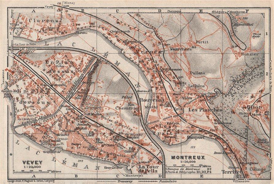 Associate Product MONTREUX. VEVEY. Clarens. town city plan. Switzerland Suisse Schweiz 1928 map