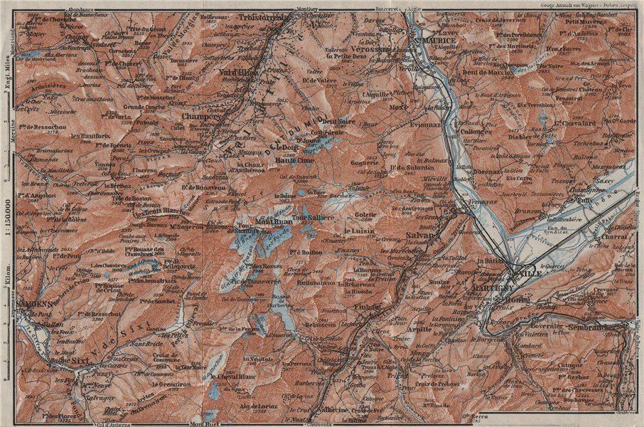 Associate Product VAL D'ILLIEZ/DENT DU MIDI.Champéry Samoëns Avoriaz Morzinette Martigny 1928 map