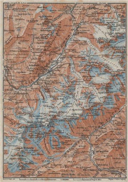 Associate Product CHAMONIX & MONT BLANC MASSIF. Argentière Les Houches Courmayeur carte 1928 map