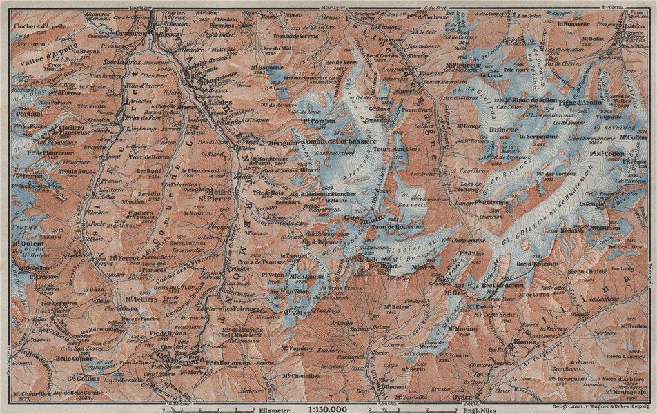 Associate Product GRAND ST BERNARD ENVIRONS Arolla Grand Combin Massif Orsières Mt Velan 1928 map