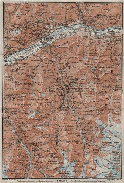 Associate Product SIERRE & VAL D'ANNIVIERS. Crans-Montana Grimentz Leukle Weisshorn 1928 old map