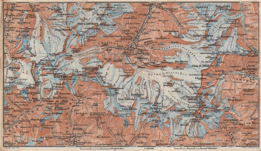 Associate Product ZERMATT ENVIRONS. Breuil-Cervinia Matterhorn Tournanche Monte Rosa 1928 map