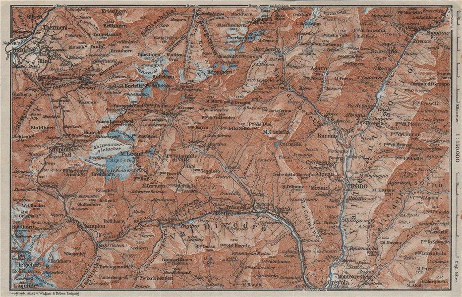 Associate Product SIMPLON PASS & VAL ANTIGORIO. Thermen Val Divedro Crodo Agaro Topo-map 1928