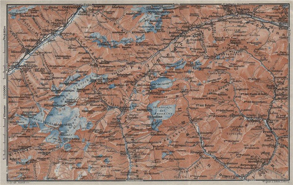 Associate Product GRIES PASS & NW TICINO ALPS. Val Bedretto Airolo Basodino Ofenhorn 1928 map