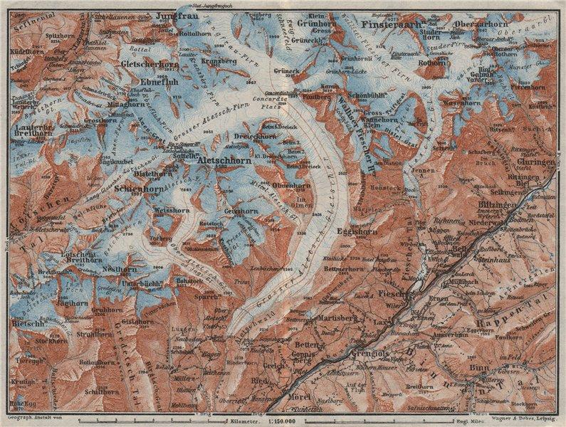 ALETSCHHORN DISTRICT. Fiesch Mörel Jungfrau Nesthorn Grengiols 1928 old map