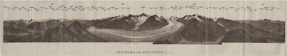 Associate Product EGGISHORN PANORAMA Aletschhorn Glacier Nesthorn Mont Blanc Leone Eiger 1928 map