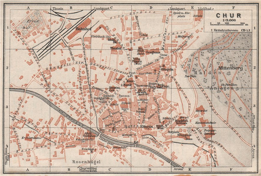 Associate Product COIRE / CHUR. Chur. town city stadtplan. Switzerland Suisse Schweiz 1928 map