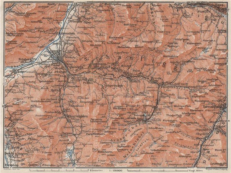 Associate Product COIRE/CHUR SCHANFIGG AROSA ENVIRONS. Davos Klosters Lenzheide Trimnns 1928 map