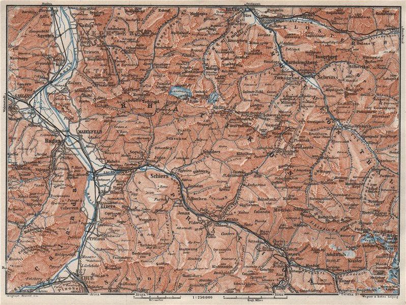 Associate Product BAD RAGAZ PRÄTIGAU MONTAFON ENVIRONS. Wangs Rätikon Bludenz Maienfeld 1928 map
