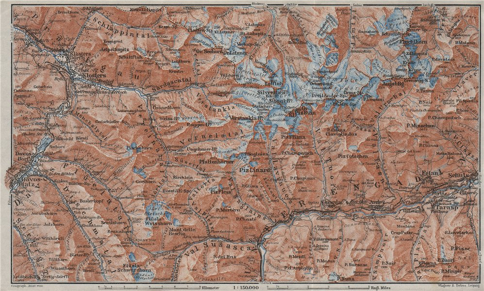 Associate Product SILVRETTA GROUP. Klosters Davos Ftan Scuol Fluchthorn Lower Engadin 1928 map