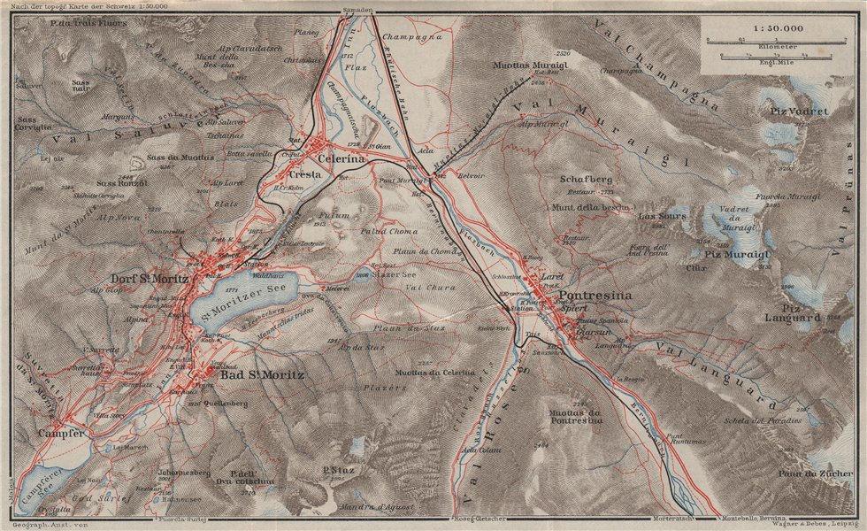 Associate Product ST MORITZ & PONTRESINA. Celerina Cresta Piz Vadret/Muraigl/Languard 1928 map