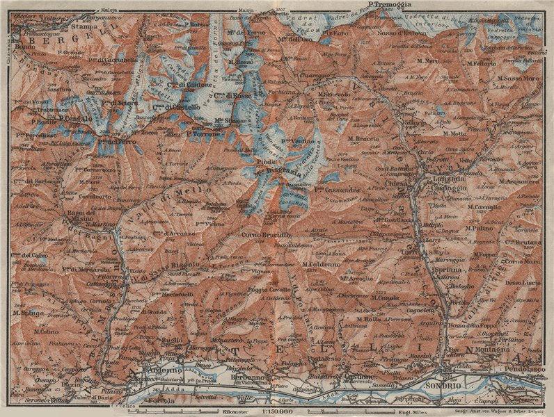 Associate Product VAL MASINO/BREGAGLIA ALPS. Disgrazia Caspoggio Tellina Malenco Sondrio 1928 map