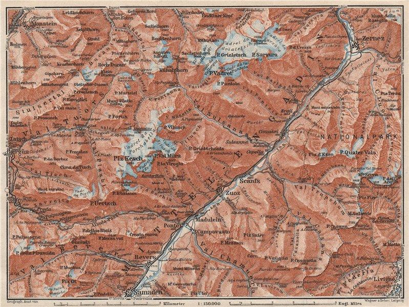 Associate Product MIDDLE ENGADINE VALLEY. Samedan-Zernez. Zuoz Livigno Albula Alps 1928 old map