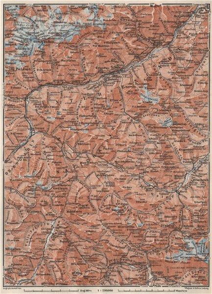 Associate Product LOWER ENGADINE. Livigno Bormio Ftan Scuol Silvretta Range Piz Buin 1928 map