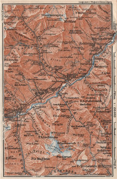Associate Product LOWER ENGADINE VALLEY. Scuol-Martinsbruck/Martina Schleins Remiis 1928 old map