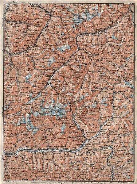 ENGADINE/VAL TELLINA. Davos Arosa Sils Bormio Livigno Sondrio Chur 1928 map