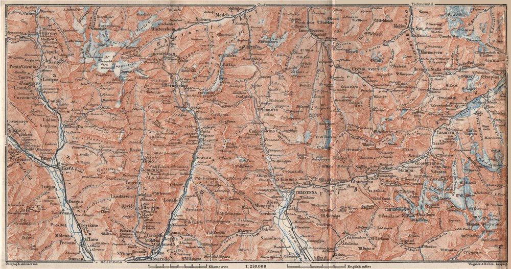 Associate Product LUKMANIER to MALOJA.Sils Maria Bivio Madesimo Chiavenna San Bernardino 1928 map