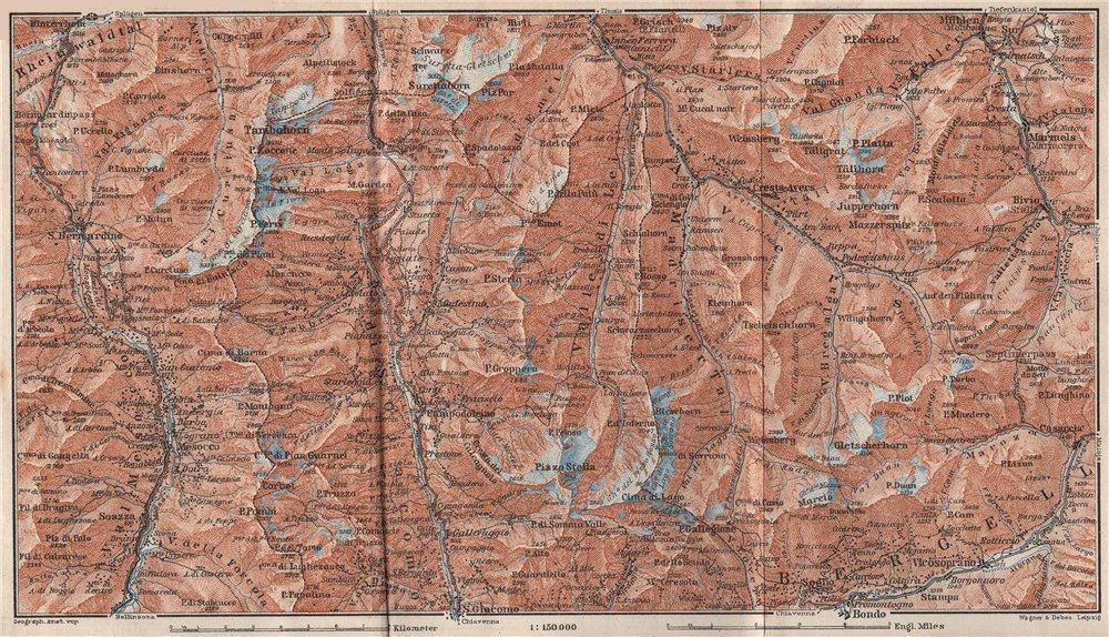 Associate Product SPLÜGEN-BONDO. Madesimo San Bernardino Mesocco Tambohorn Surettahorn 1928 map