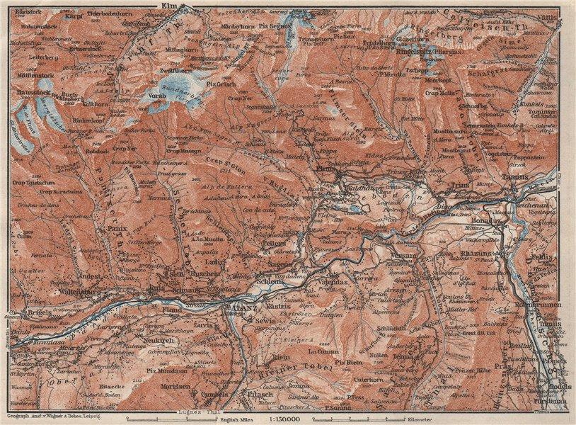 Associate Product ILANZ & FLIMS AREA. Laax Obersaxen Mundaun Brigels Waltensburg Tamins 1928 map