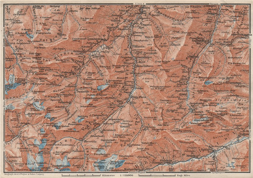Associate Product LUGNETZTAL SURSELVA. Valserrhein Furketlihorn Hinterrhein Splügen 1928 old map