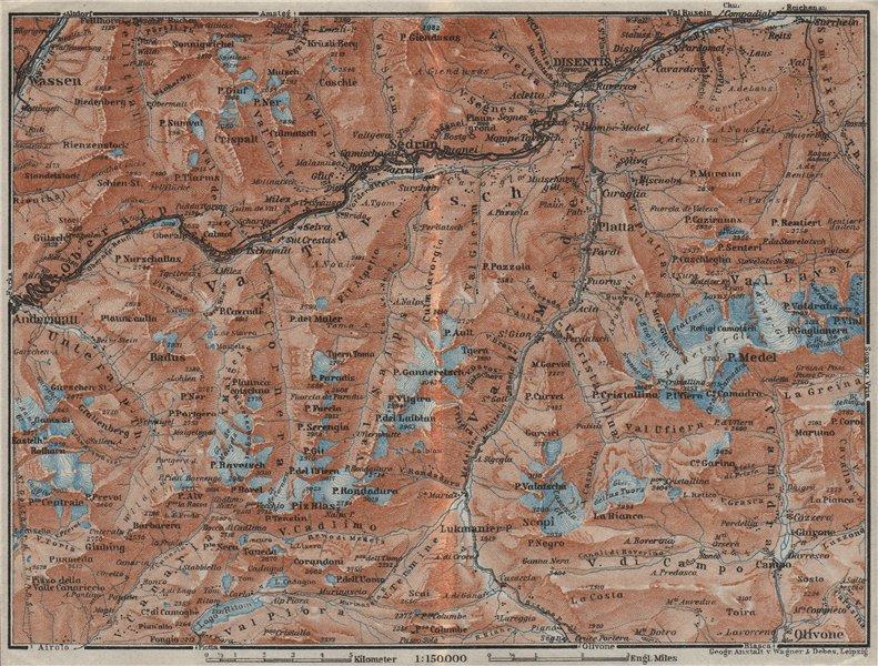 Associate Product VAL TAVETSCH/MEDEL. Andermatt Disentis Sedrun Wassen Piz Medel. Topo-map 1928