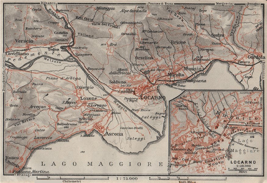 Associate Product LOCARNO area. Losone Gordola Muralto Brione. Switzerland Suisse Schweiz 1928 map