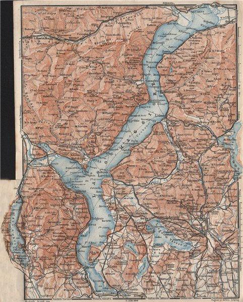 Associate Product LAGO MAGGIORE. Lake Maggiore. Varese Varesa Pallanza. Topo-map. Italy 1928