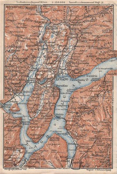 LUGANO ENVIRONS. Lake Lago di. Topo-map. Switzerland Suisse Schweiz 1928