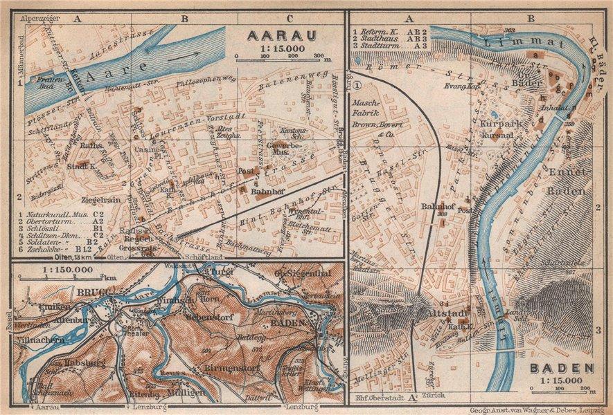 BADEN. AARAU. Brugg. town city stadtplan. Switzerland Suisse Schweiz 1938 map