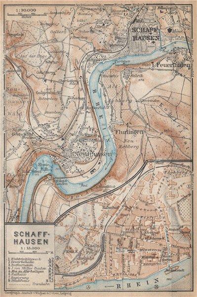 Associate Product SCHAFFHAUSEN environs. Flurlingen Feuerthalen Neuhausen. Schweiz 1938 old map